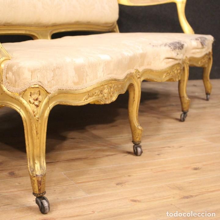 Antigüedades: Sofá francés dorado en estilo Luis XV - Foto 5 - 193216450