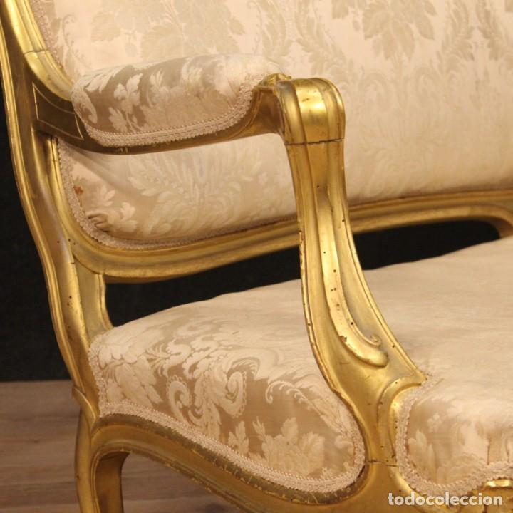 Antigüedades: Sofá francés dorado en estilo Luis XV - Foto 6 - 193216450
