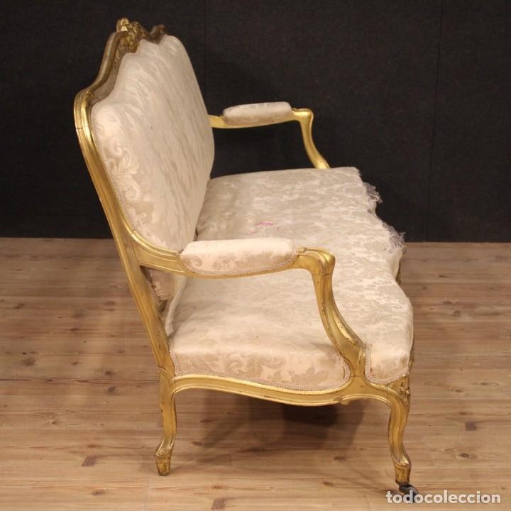 Antigüedades: Sofá francés dorado en estilo Luis XV - Foto 7 - 193216450