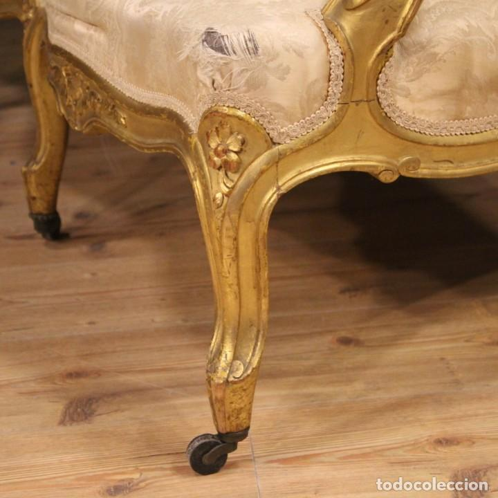 Antigüedades: Sofá francés dorado en estilo Luis XV - Foto 9 - 193216450