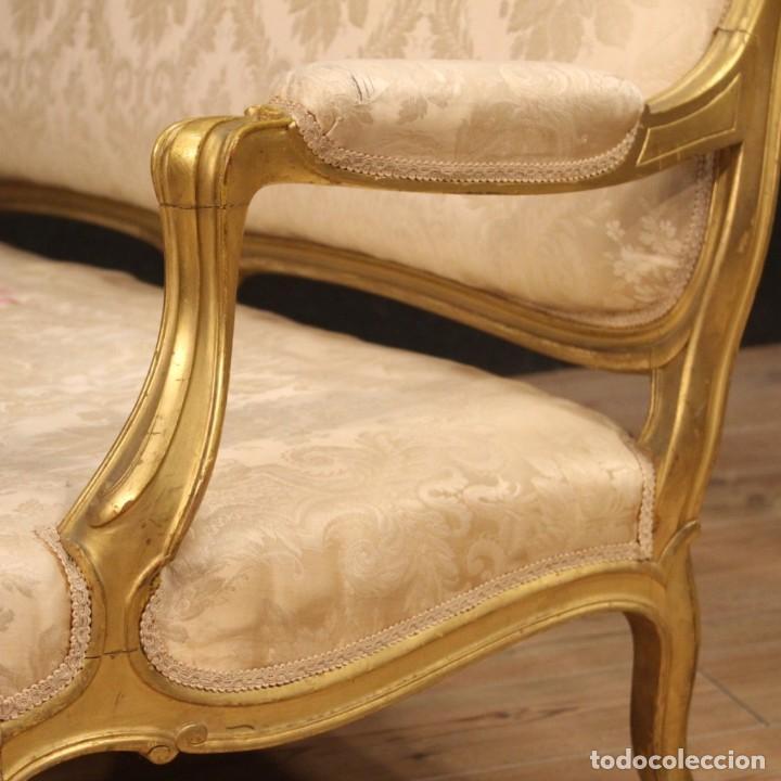 Antigüedades: Sofá francés dorado en estilo Luis XV - Foto 10 - 193216450