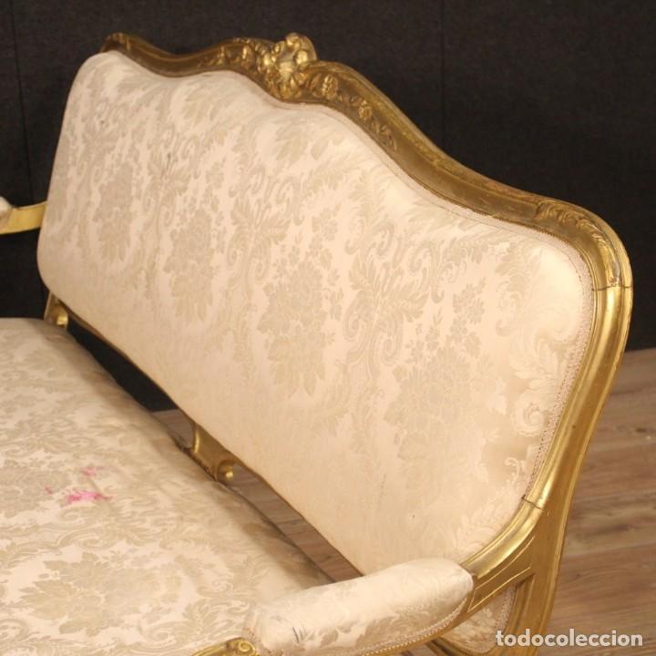 Antigüedades: Sofá francés dorado en estilo Luis XV - Foto 11 - 193216450