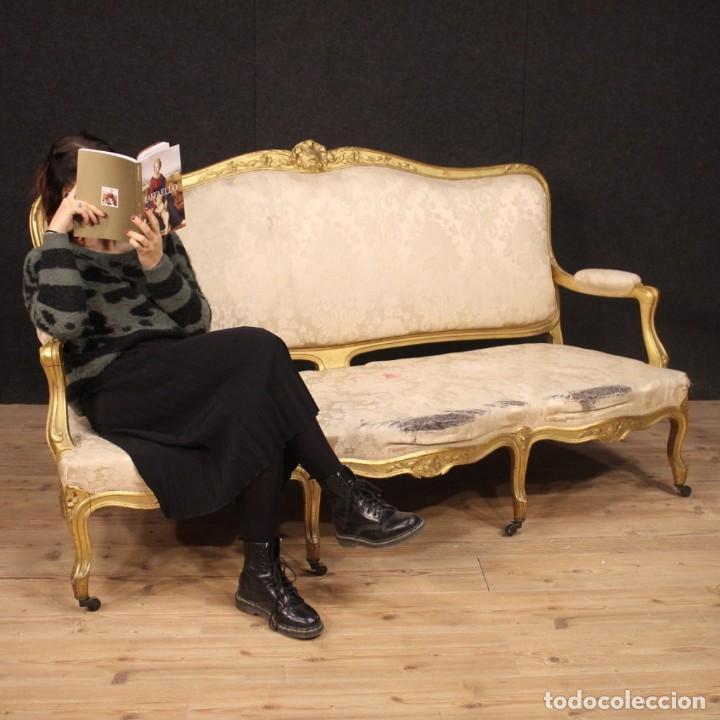 Antigüedades: Sofá francés dorado en estilo Luis XV - Foto 12 - 193216450