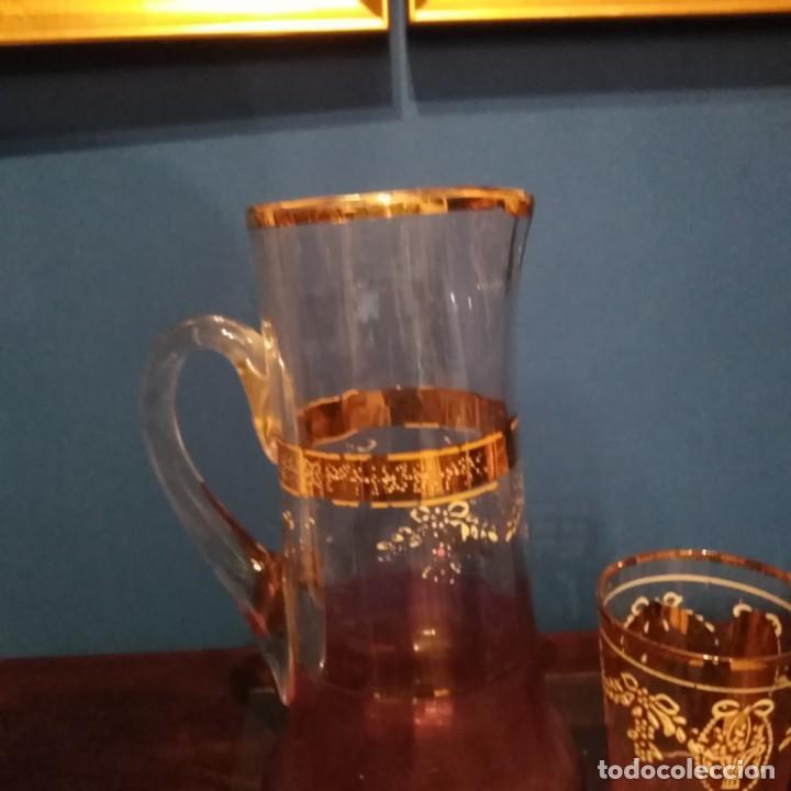 Antigüedades: Juego de agua modernista del siglo xix de cristal esmaltado - Foto 2 - 193241165