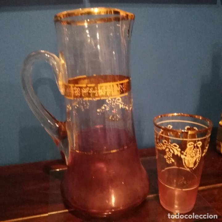 Antigüedades: Juego de agua modernista del siglo xix de cristal esmaltado - Foto 3 - 193241165