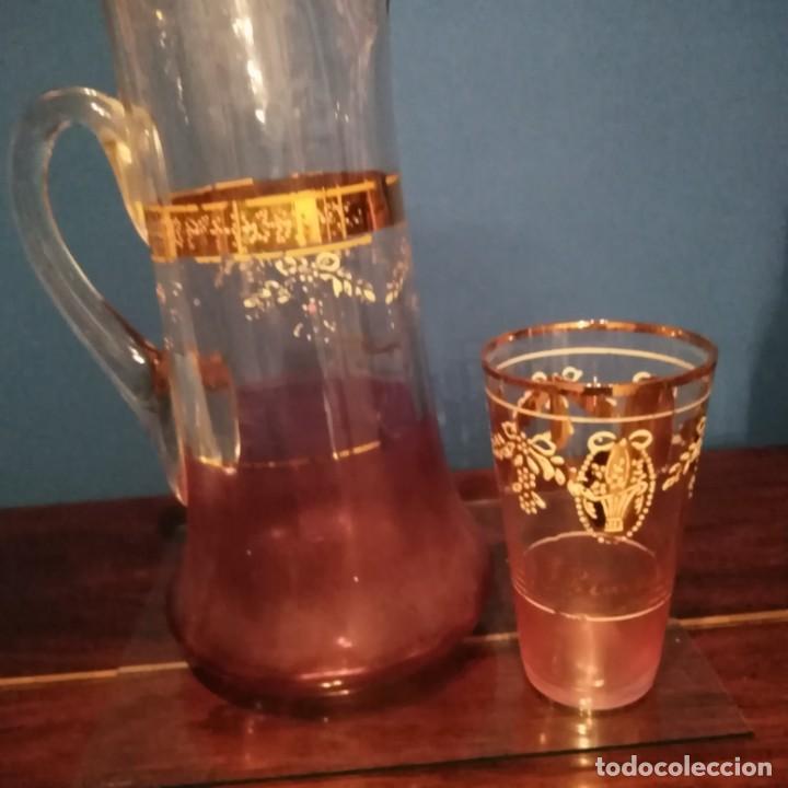 Antigüedades: Juego de agua modernista del siglo xix de cristal esmaltado - Foto 4 - 193241165