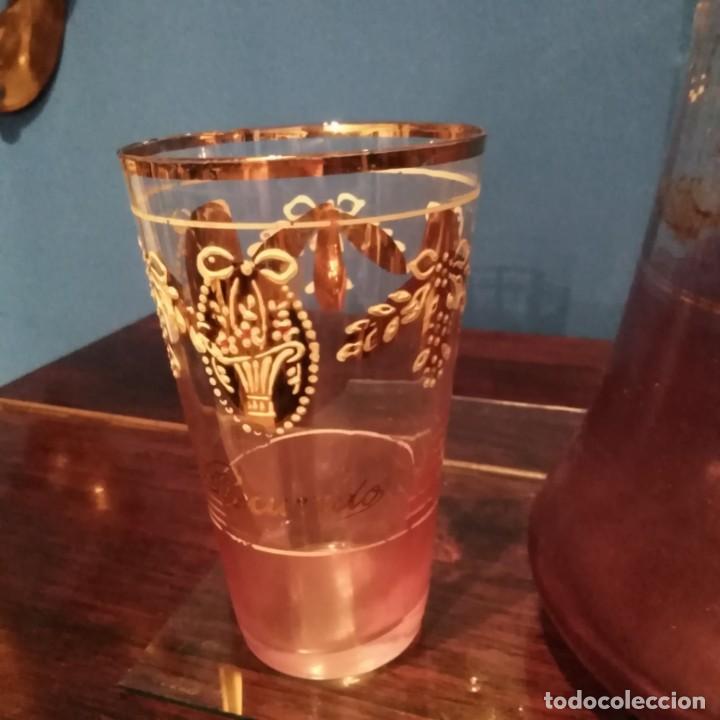 Antigüedades: Juego de agua modernista del siglo xix de cristal esmaltado - Foto 5 - 193241165