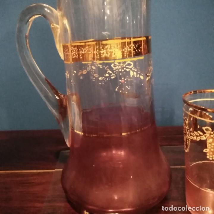 Antigüedades: Juego de agua modernista del siglo xix de cristal esmaltado - Foto 6 - 193241165