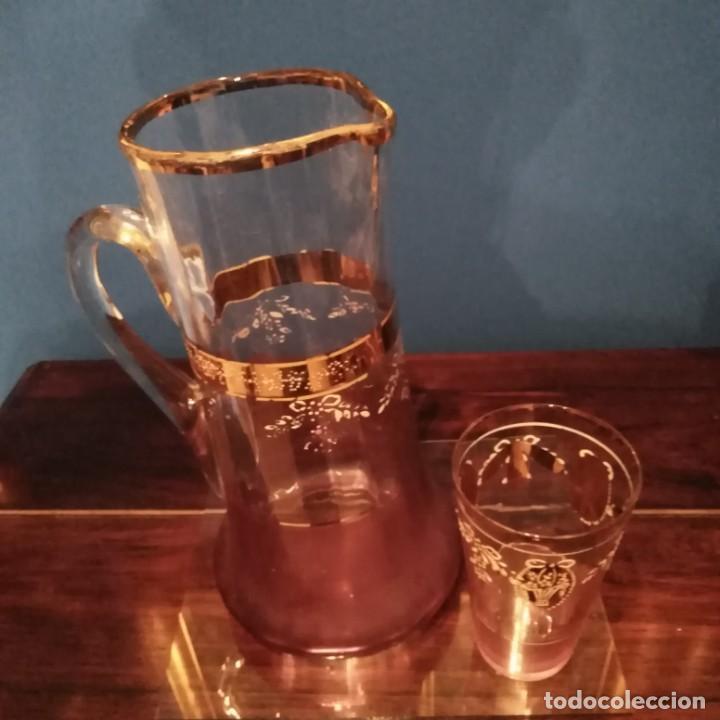 Antigüedades: Juego de agua modernista del siglo xix de cristal esmaltado - Foto 8 - 193241165