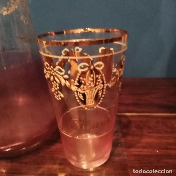 Antigüedades: Juego de agua modernista del siglo xix de cristal esmaltado - Foto 12 - 193241165