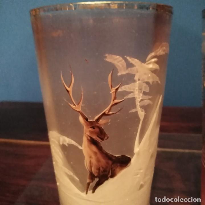 Antigüedades: antiguo vaso de cristal de la Real fábrica de la Granja del siglo xix, soplado y esmaltado a mano - Foto 3 - 193242915