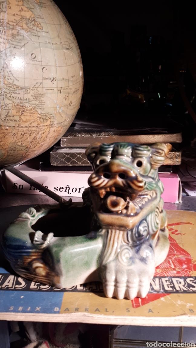 Antigüedades: Cenicero perro foo porcelana - Foto 2 - 193271227