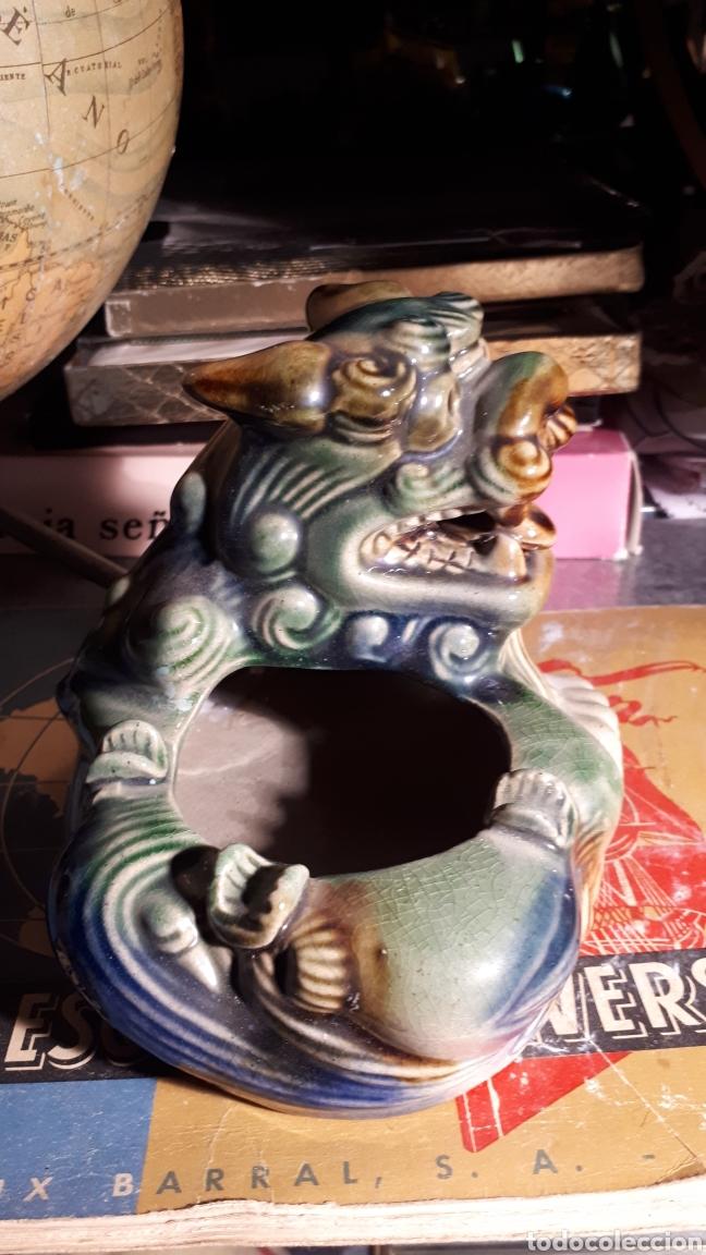 Antigüedades: Cenicero perro foo porcelana - Foto 5 - 193271227