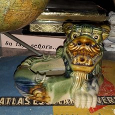 Antigüedades: CENICERO PERRO FOO PORCELANA. Lote 193271227