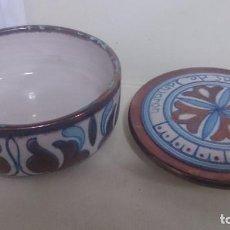 Antigüedades: CAJA DE CERÁMICA ANTIGUA . TALLER GRANADINO DE LANJARON. DIBUJO ÁRABE. Lote 193274041