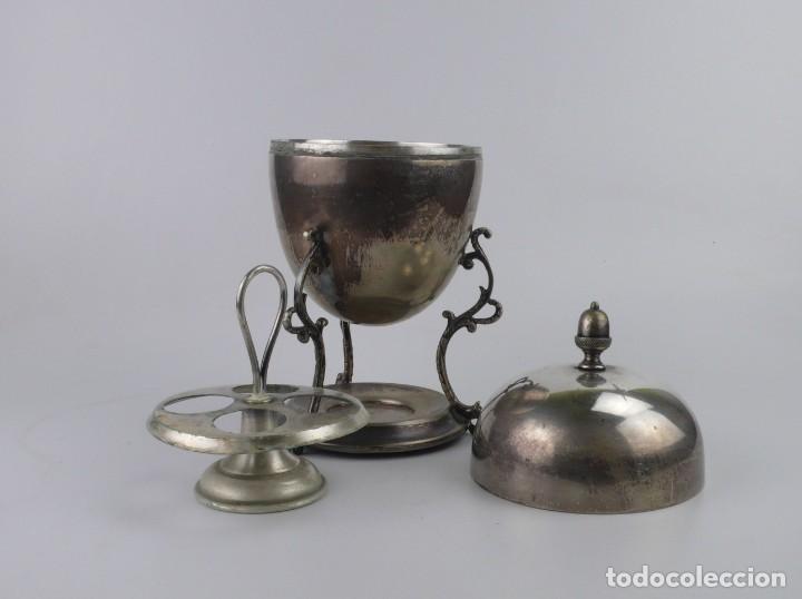 Antigüedades: Copa o recipiente metal cromado para calentar o cocer huevos -Primera mitad S.XX - Foto 3 - 193290095
