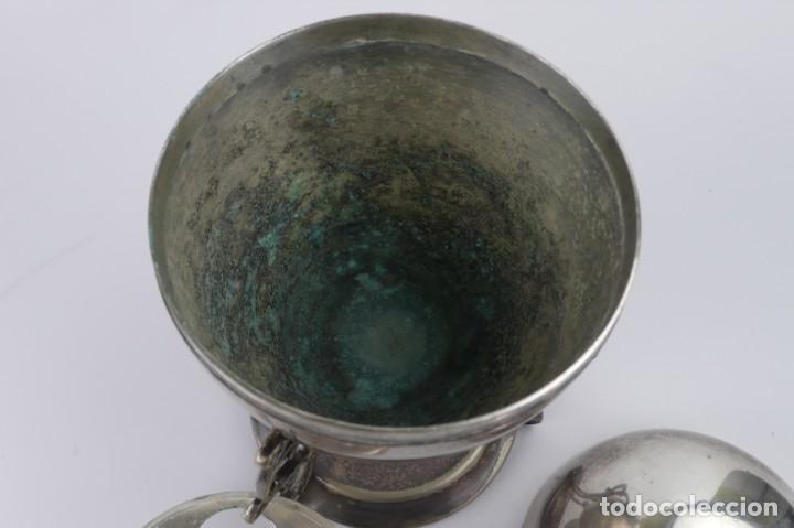 Antigüedades: Copa o recipiente metal cromado para calentar o cocer huevos -Primera mitad S.XX - Foto 6 - 193290095