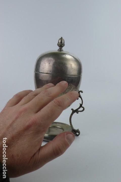 Antigüedades: Copa o recipiente metal cromado para calentar o cocer huevos -Primera mitad S.XX - Foto 7 - 193290095