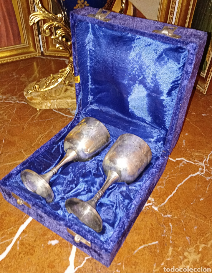 Antigüedades: ANTIGUAS COPAS DE PLATA ALEMANA - CON GRABADOS - AÑOS 1940/50 - EN SU ESTUCHE ORIGINAL - COMUNION - Foto 4 - 193339346