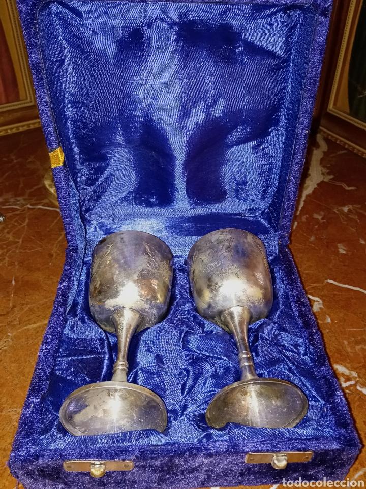 Antigüedades: ANTIGUAS COPAS DE PLATA ALEMANA - CON GRABADOS - AÑOS 1940/50 - EN SU ESTUCHE ORIGINAL - COMUNION - Foto 9 - 193339346