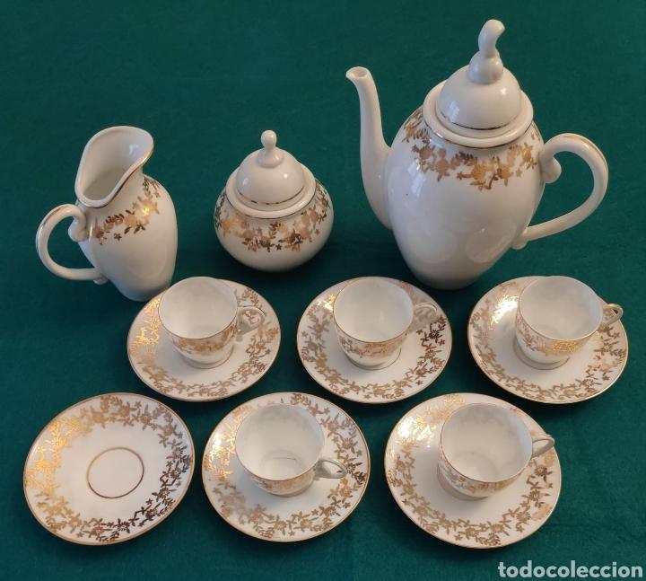 CASTRO PORCELANA JUEGO CAFÉ RIBETE ORO AÑOS '50 (Antigüedades - Porcelanas y Cerámicas - Sargadelos)