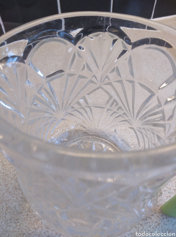 Antigüedades: Jarra de agua o refrescos cristal tallado inglesa. Alto 12 cm. Diámetro boca 10 cm - Foto 3 - 193389263
