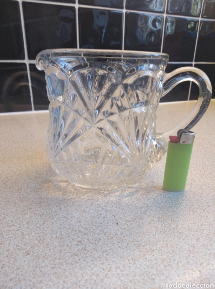 Antigüedades: Jarra de agua o refrescos cristal tallado inglesa. Alto 12 cm. Diámetro boca 10 cm - Foto 7 - 193389263