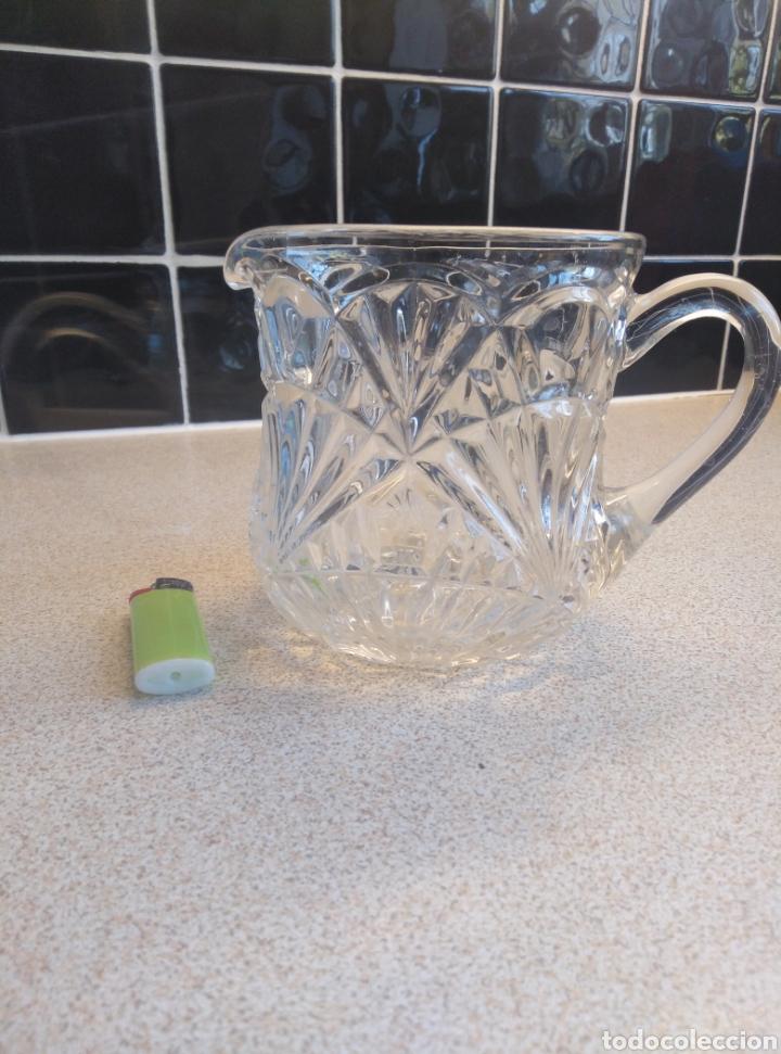 Antigüedades: Jarra de agua o refrescos cristal tallado inglesa. Alto 12 cm. Diámetro boca 10 cm - Foto 9 - 193389263