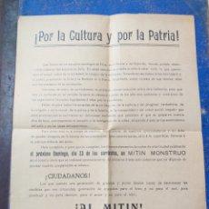 Antigüedades: POR LA CULTURA Y LA PATRIA,NI IDEA UNA HOJA. Lote 193404330