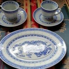 Antigüedades: 2 TAZAS DE CAFÉ, 2 PLATOS Y BANDEJA PARA PASTAS - PORCELANA CHINA. Lote 193411033