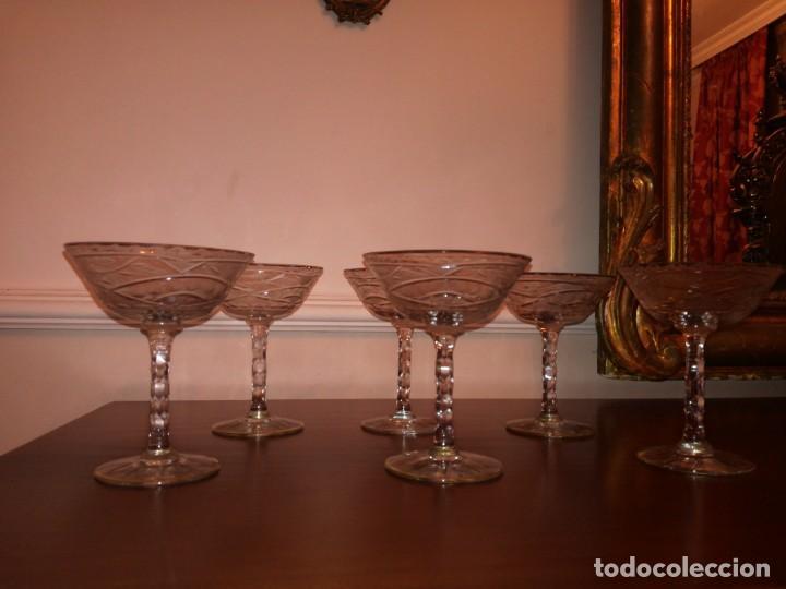 6 ANTIGUAS COPAS DE CAVA CRISTAL TALLADO (Antigüedades - Cristal y Vidrio - Otros)
