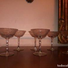 Antigüedades: 6 ANTIGUAS COPAS DE CAVA CRISTAL TALLADO. Lote 193430421