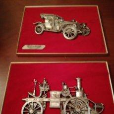 Antigüedades: PAREJA DE CUADROS AUTOMÓVILES ANTIGUOS. Lote 193440570