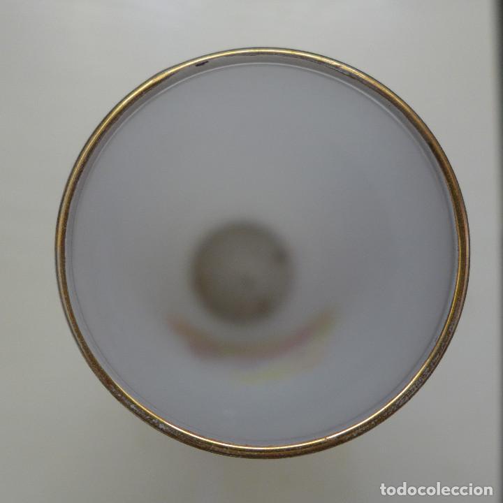 Antigüedades: 3 VASOS TIPO TUBO DE SILESIA SPAIN CON DECORACION GRAGONARD Y FILOS DE ORO - Foto 4 - 193561005
