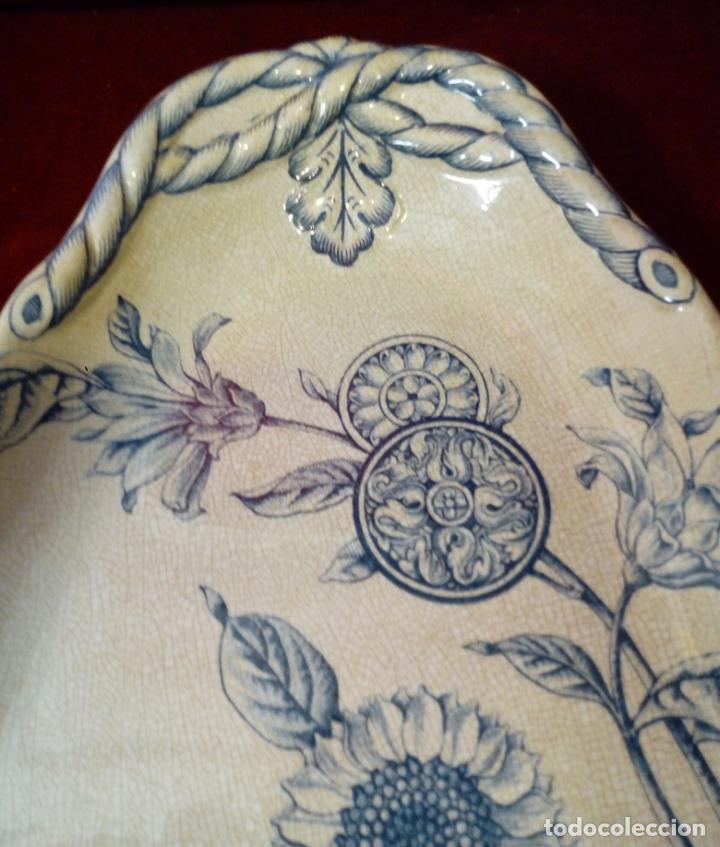 Antigüedades: antigua bandeja de loza esmaltada de gran tamaño - porcelana - Irostone China - 58cm - Foto 2 - 193569903