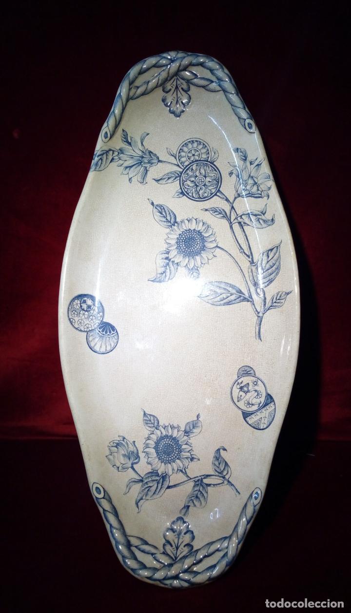 Antigüedades: antigua bandeja de loza esmaltada de gran tamaño - porcelana - Irostone China - 58cm - Foto 4 - 193569903