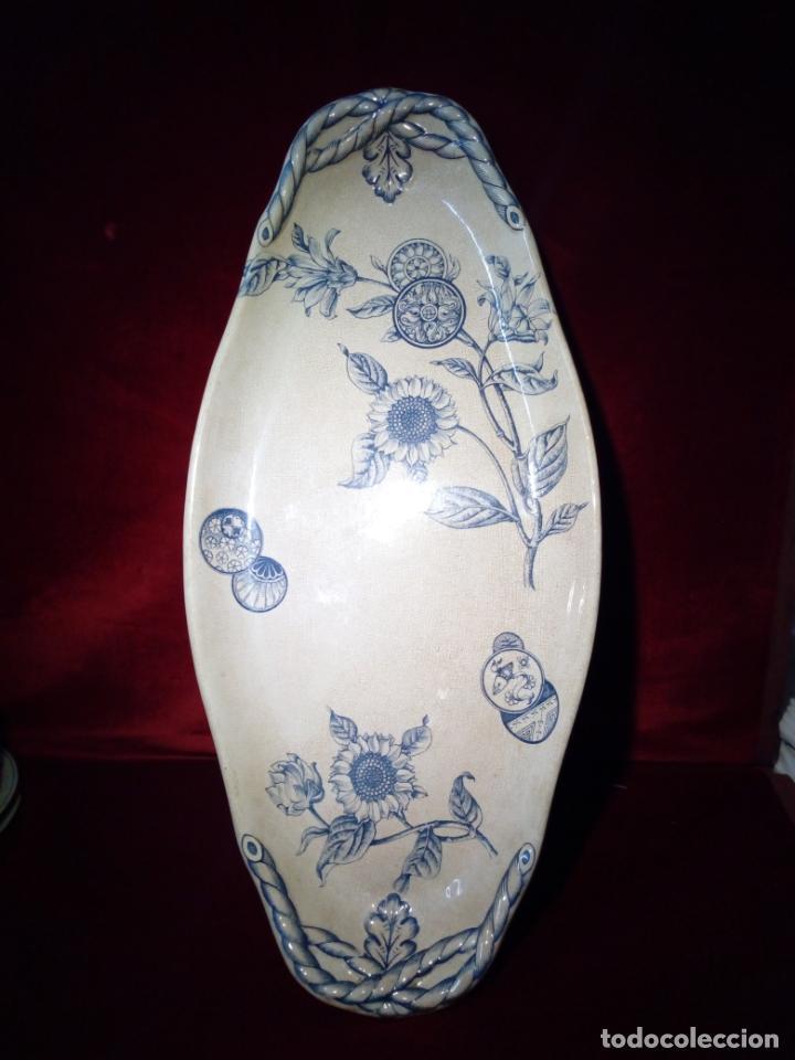 ANTIGUA BANDEJA DE LOZA ESMALTADA DE GRAN TAMAÑO - PORCELANA - IROSTONE CHINA - 58CM (Antigüedades - Porcelanas y Cerámicas - Inglesa, Bristol y Otros)