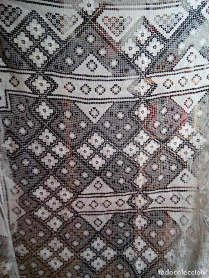 Antigüedades: * MANTEL O COLCHA . ENCAJE DE RED. NUEVA.2,80 M. (Rf:526/bé) - Foto 2 - 193572933
