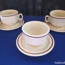 Antigüedades: SET DE 3 TAZAS CON PLATOS DE CAFÉ, LEIBITS, DECORADO INALTERABLE.. Lote 193576085