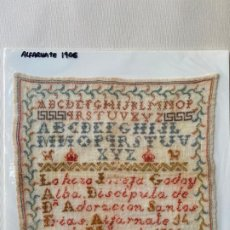Antigüedades: DECHADO , ABECEDARIO BORDADO EN ALFARNATE , MÁLAGA EN 1906. Lote 193577232