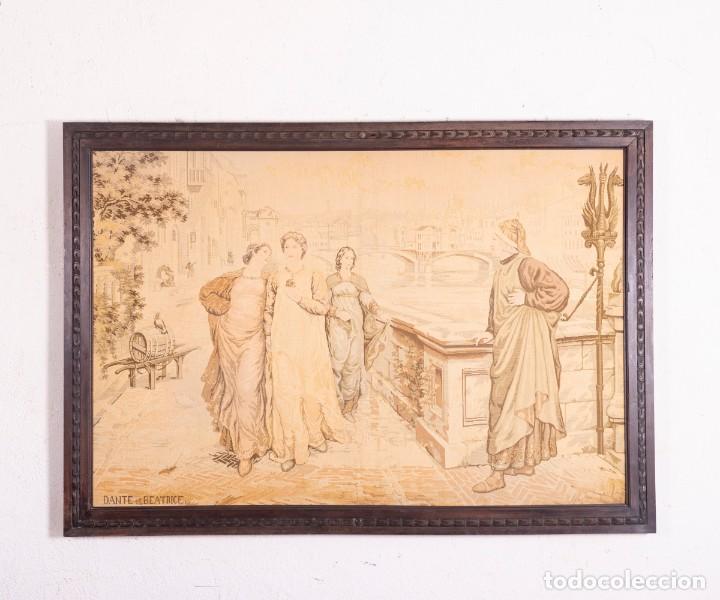 TAPIZ ITALIANO DANTE ET BÉATRICE (Antigüedades - Hogar y Decoración - Tapices Antiguos)