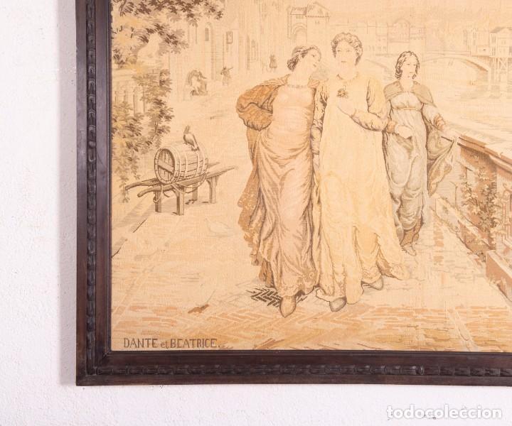 Antigüedades: Tapiz Italiano Dante Et Béatrice - Foto 3 - 193578224