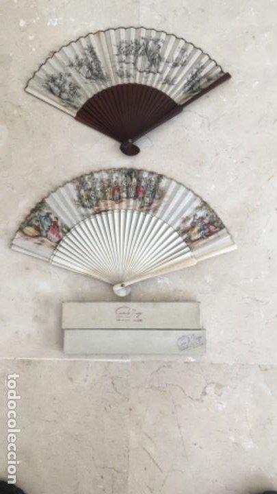 PAREJA DE ANTIGUOS ABANICOS DE CASA DE DIEGO, MADRID (Antigüedades - Moda - Abanicos Antiguos)