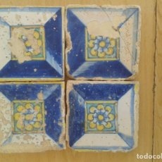 Antigüedades: 4 AZULEJOS ANTIGUOS VALENCIANOS SIGLO XVII DIAMANTE. Lote 170888250