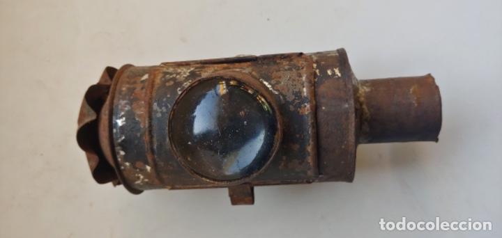 Antigüedades: Antigua linterna semáforo de ferroviario de vela - Foto 11 - 193624012