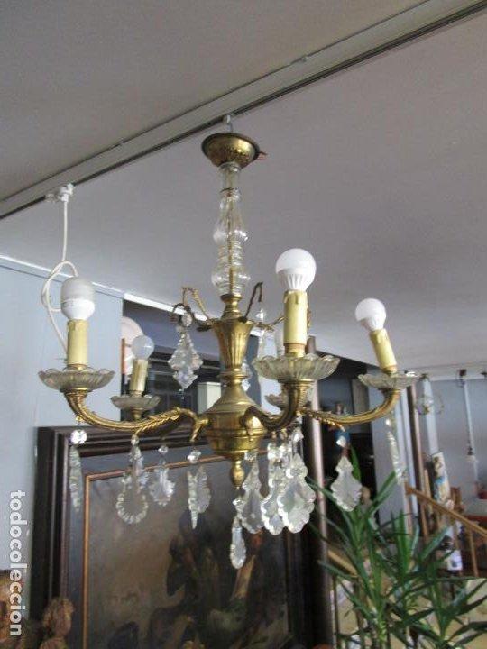 BONITA LÁMPARA DE TECHO - 5 LUCES - BRONCE - LÁGRIMAS DE CRISTAL (Antigüedades - Iluminación - Lámparas Antiguas)