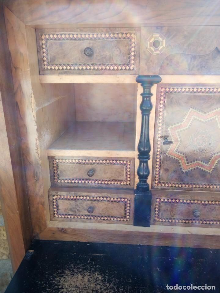 Antigüedades: antiguo SECRETAIRE estilo luis xiii ,madera maciza de nogal,interior con cajones con marquetería. - Foto 4 - 193649223