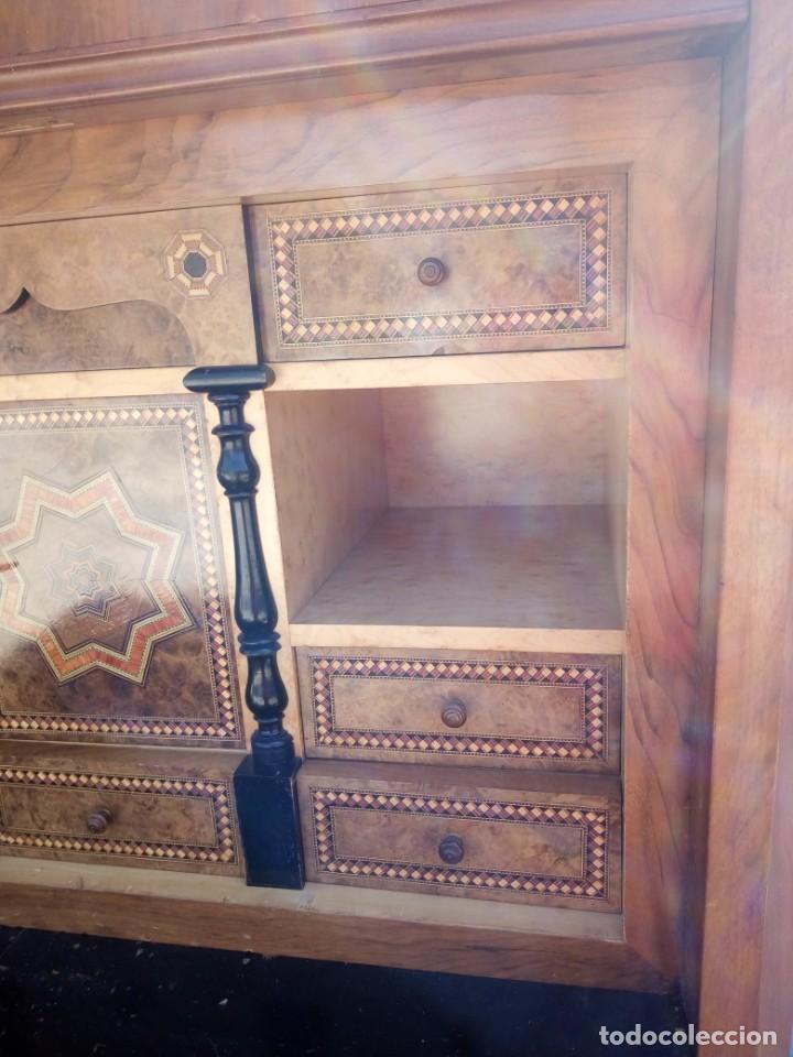 Antigüedades: antiguo SECRETAIRE estilo luis xiii ,madera maciza de nogal,interior con cajones con marquetería. - Foto 5 - 193649223