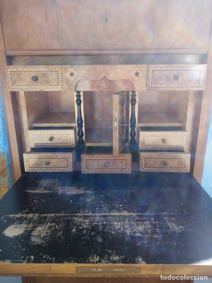 Antigüedades: antiguo SECRETAIRE estilo luis xiii ,madera maciza de nogal,interior con cajones con marquetería. - Foto 7 - 193649223