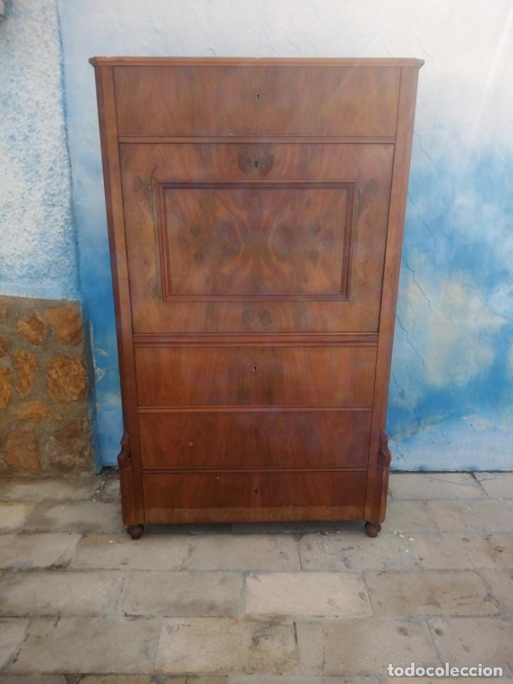 Antigüedades: antiguo SECRETAIRE estilo luis xiii ,madera maciza de nogal,interior con cajones con marquetería. - Foto 13 - 193649223